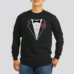 Funny Tuxedo [red rose] Long Sleeve Dark T-Shirt